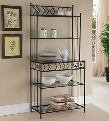 1. Kings Furniture of Brand Black Metal with Marble Finish 5-Tier Bakers Rack - Baker Racks