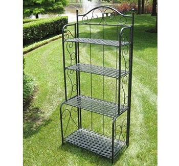 4. International Caravan Mandalay Iron Indoor/Outdoor Bakers Rack
