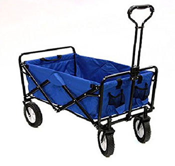 6. MAC SPORTS COLLAPSIBLE FOLDING UTILITY WAGON GARDEN CART SHOPPING BEACH BLUE
