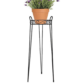 7. CobraCo Canterbury 30-Inch Black Scroll Top Plant Stand