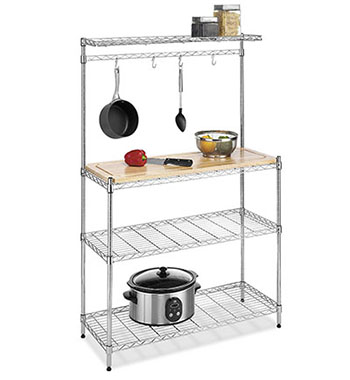 8. Whitmor 6054-268 Supreme Bakers Rack, Chrome and Wood