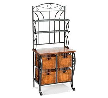 9. SEI Iron/Wicker Baker's Rack