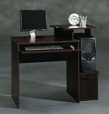 1. Sauder Beginnings Computer Desk-Cinnamon Cherry Finish