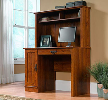 10. Sauder Harvest Mill Computer Desk with Hutch-Abbey Oak Finish