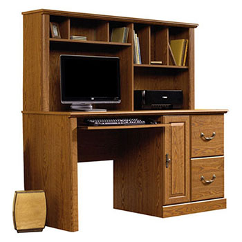 4. Sauder Orchard Hills Computer Desk with Hutch – Carolina Oak