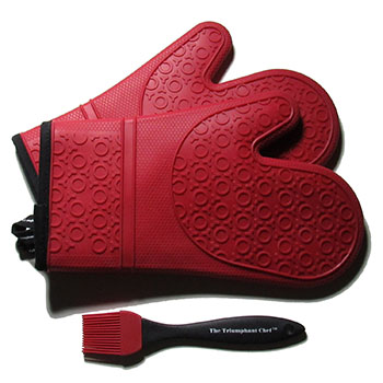 5. Silicone Oven Mitts-1 Pair(Dark Red) Deluxe Quilted Liner and Bonus Brush