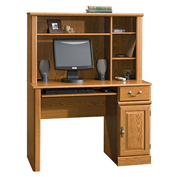 5. Sauder Orchard Hills Computer Desk with Hutch-Carolina Oak
