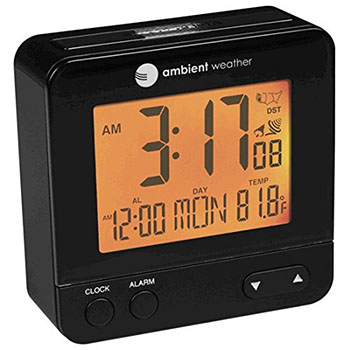 8. Ambient Weather RC-8300 Atomic Travel Compact Alarm Clock
