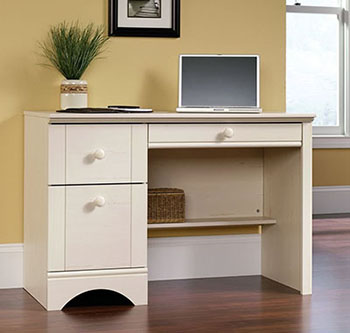 8. Sauder Harbor View Computer Desk, Antiqued White Finish
