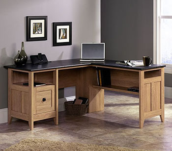 9. Sauder August Hill L-Shaped Desk- Dover Oak Finish