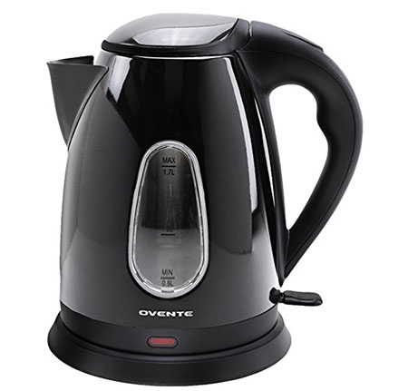 10. Ovente KS93 1.7L Black Cordless Electric Kettle