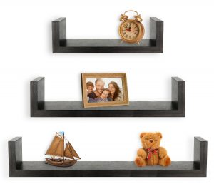 4). Greenco Expresso Finish Floating U Shelves
