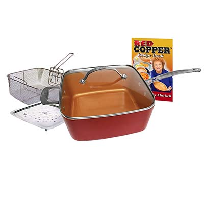 8. Red Copper Non-Stick Ceramic Cookware (Five Piece Set)