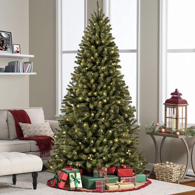 1- 7.5' Ft Prelit Premium Spruce Hinged Artificial Christmas Tree W/ 550 Clear Lights And Stand (SKY2888)