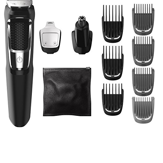 5. Philips Norelco Multigroom All-In-One Series 3000, 13 attachment trimmer