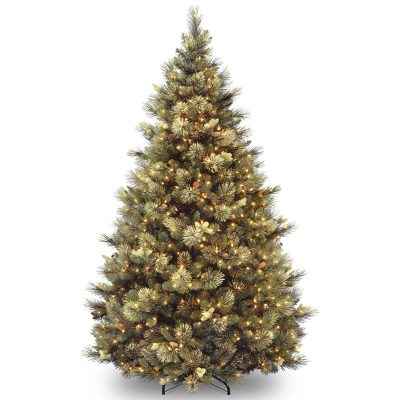 5- National Tree 7.5 Foot Carolina Pine Tree with Flocked Cones and 750 Clear Lights, Hinged (CAP3-306-75)