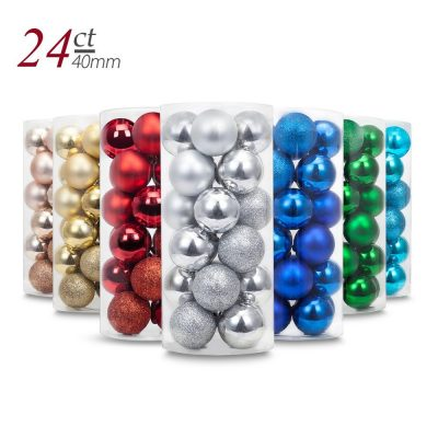 9. Yoland 24ct Multicolor Christmas Ball Ornaments