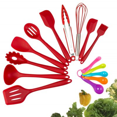 10. Evantek 10 Piece Silicone Kitchen Utensil Set- Red
