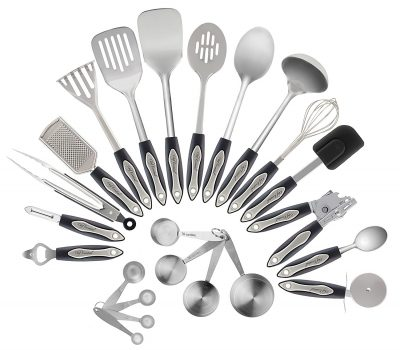 2. Chef Essential 23 Piece Stainless Steel Kitchen Utensil Set