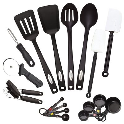 4. Farberware Classic 17 Piece Tool and Gadget Set - Stainless Steel Kitchen Utensil Sets