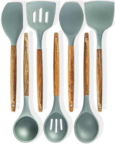 8. HomeHero 7 Silicone Kitchen Utensils Set