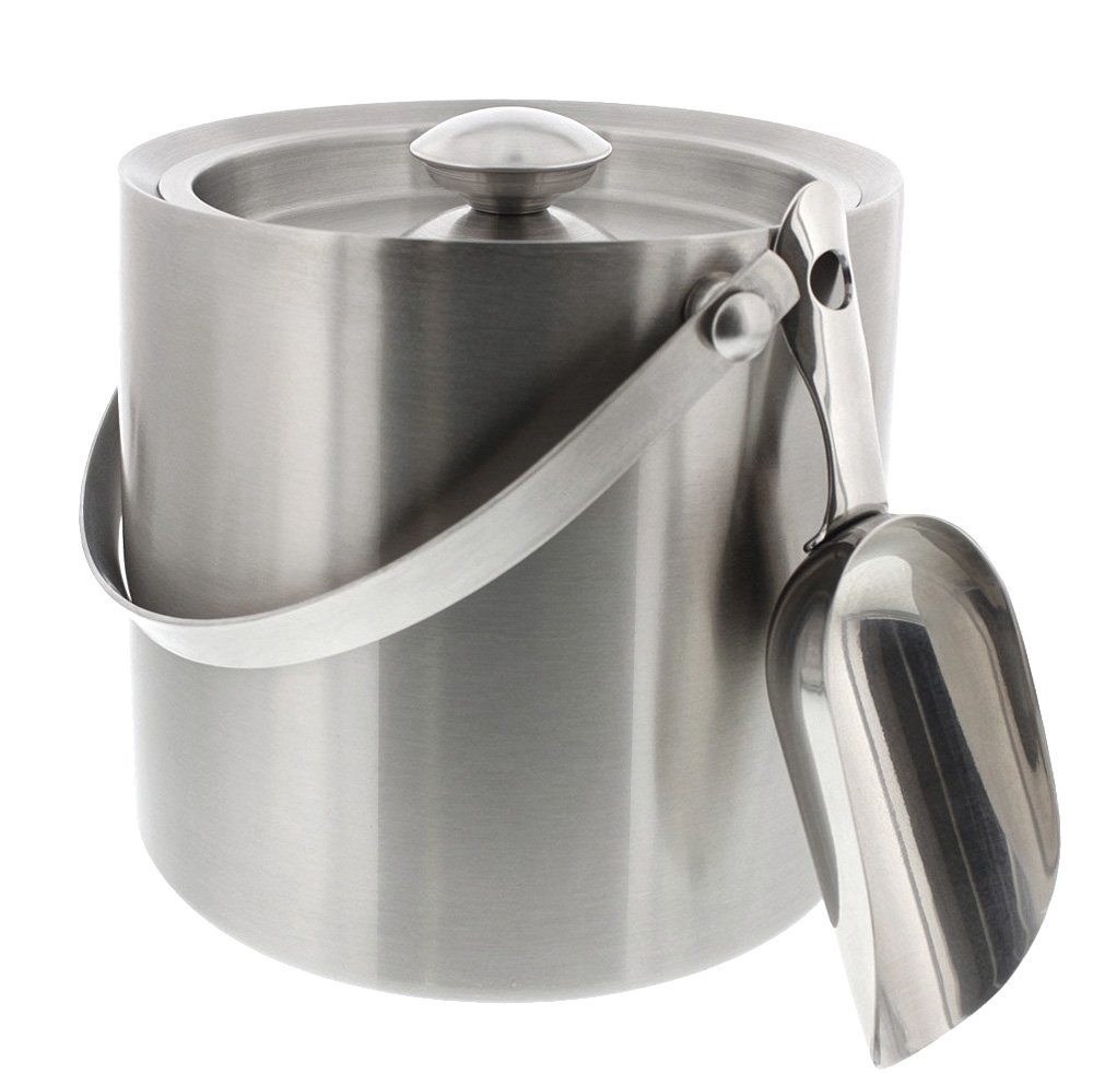 10. Juvale Stainless Steel Double Walled Ice Bucket with Scoop