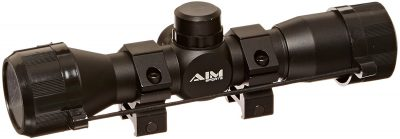 4. AIM Sports 4x32 Rangefinder Scope with Rings