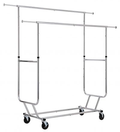 8. Finnhomy Commercial Grade Adjustable Rolling Garment Rack