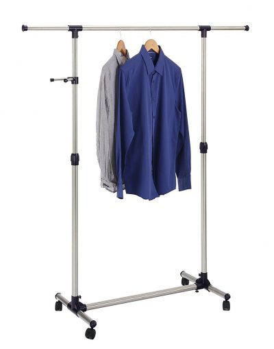 9. Finnhomy Single Rail Adjustable Rolling Garment Rack