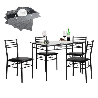 4. Vecelo 4-Chair Dining Table Set