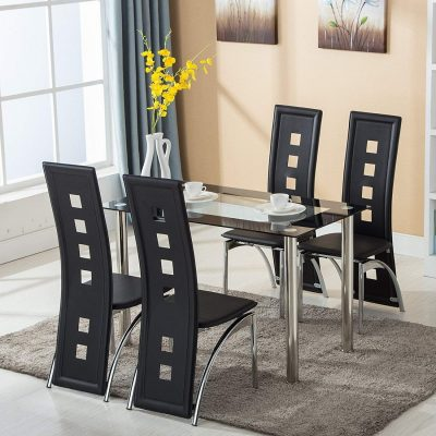 5. Mecor 5-Piece Glass Dining Table Set