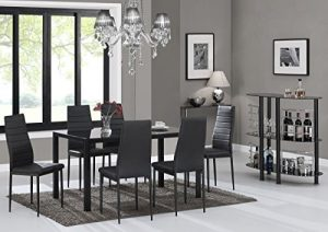 6. IDS 7-Piece Glass Dining Table Set