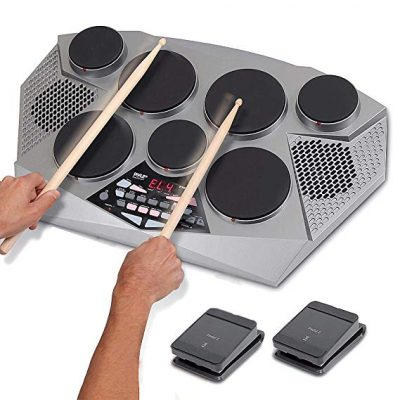 3. Pyle Electronic Drum Set Pad With Built in Speakers Foot Pedals and Drum Sticks Kit (PTED06)