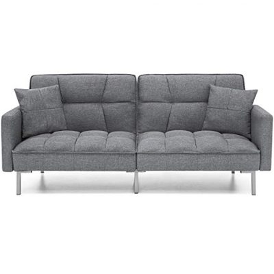 7. Best Choice Products Futon Couch Furniture- Dark Gray