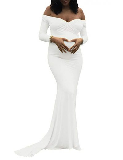 5.Saslax Elegant Fitted Maternity Gown, Sweetheart White