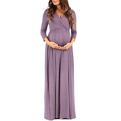 8. Mother Bee Women's Wraped Ruched Maternity Dress