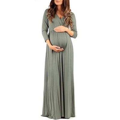 11. Mother Bee Women's Wraped Ruched Maternity Dress