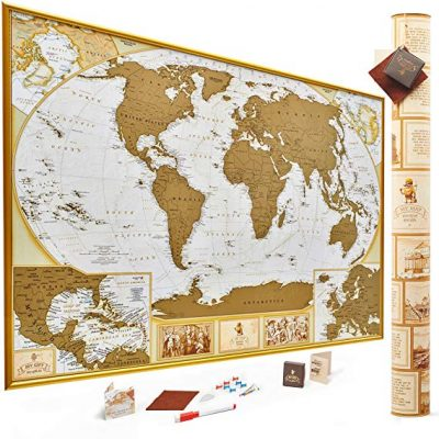 1. Antique Edition Gold Scratch Off World Map