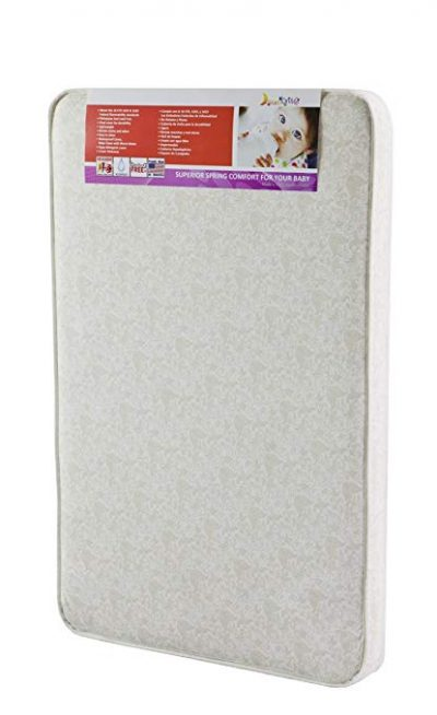 "4. Dream On Me 3"" Rounded Corner Playard Mattress, White/Brown"