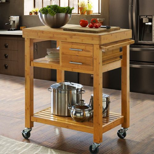 2. Clevr Rolling Bamboo Kitchen Cart - Best Rolling Kitchen Carts