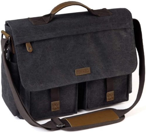 5. Messenger Bag for Men, VASCHY Vintage Water Resistant Waxed Canvas Satchel