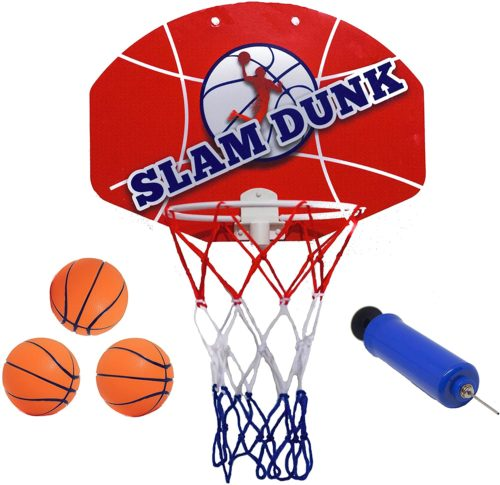 5. Slam Dunk Mini Basketball Hoop Set - Over The Door Plastic Toy Backboard