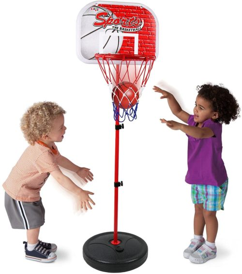 8. Kiddie Play Basketball Hoop Stand Toy Set for Kids Adjustable Height up to 4 ft