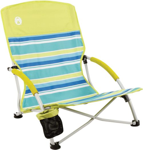 1. Coleman Beach Chair with Drink Holder and Pouch
