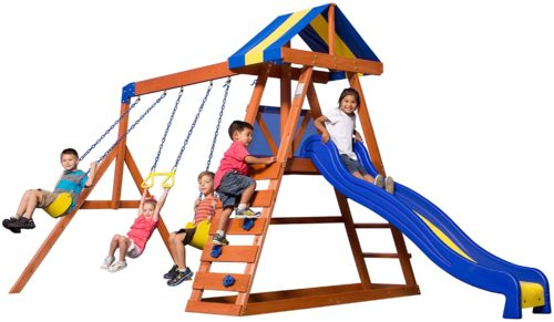 6. Backyard Discovery Metal Swing Sets with Rock Climbing Ladder