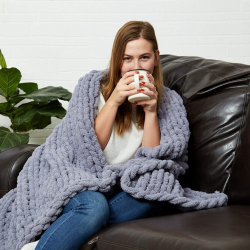 10. Sterling Letter Chunky Knit Throw Blanket