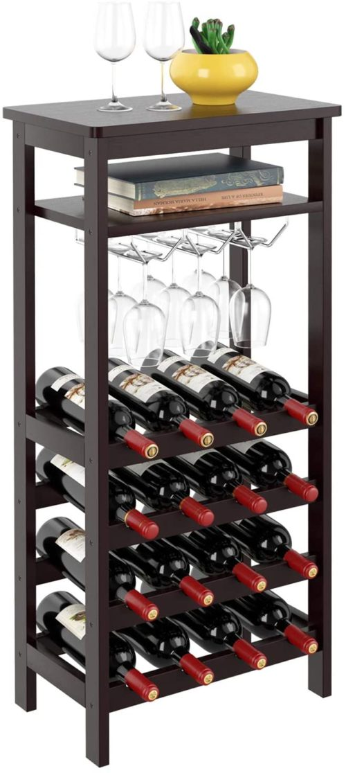 3. Homfa Bamboo Free Standing Wine Holder