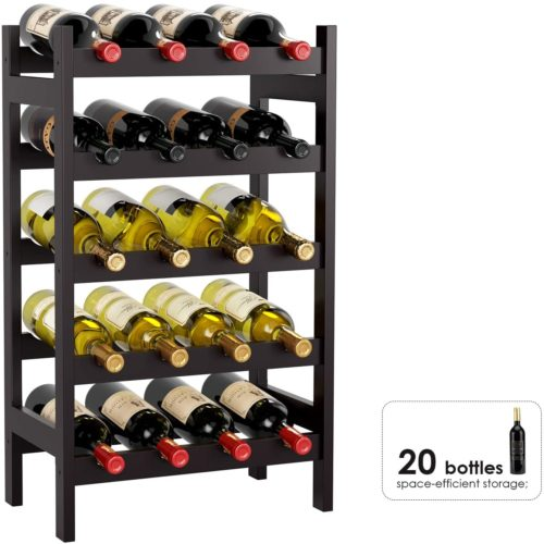 4. HOMECHO Bamboo Wine Rack
