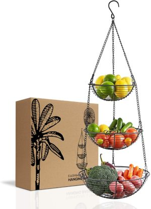 1. Farmhouse 3-Tier Wire Hanging Basket