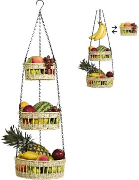 10. HYGGE PENATES Hanging Fruit Basket